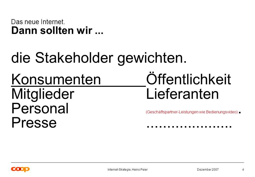 Dezember 2007Internet-Strategie, Heino Peier4 Das neue Internet.