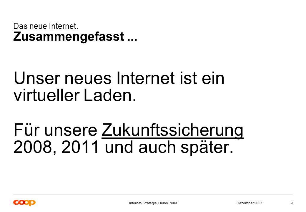 Dezember 2007Internet-Strategie, Heino Peier9 Das neue Internet.