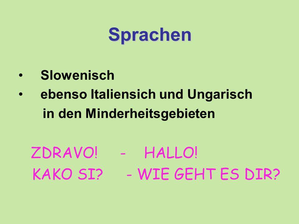 Sprachen Slowenisch ebenso Italiensich und Ungarisch in den Minderheitsgebieten ZDRAVO.