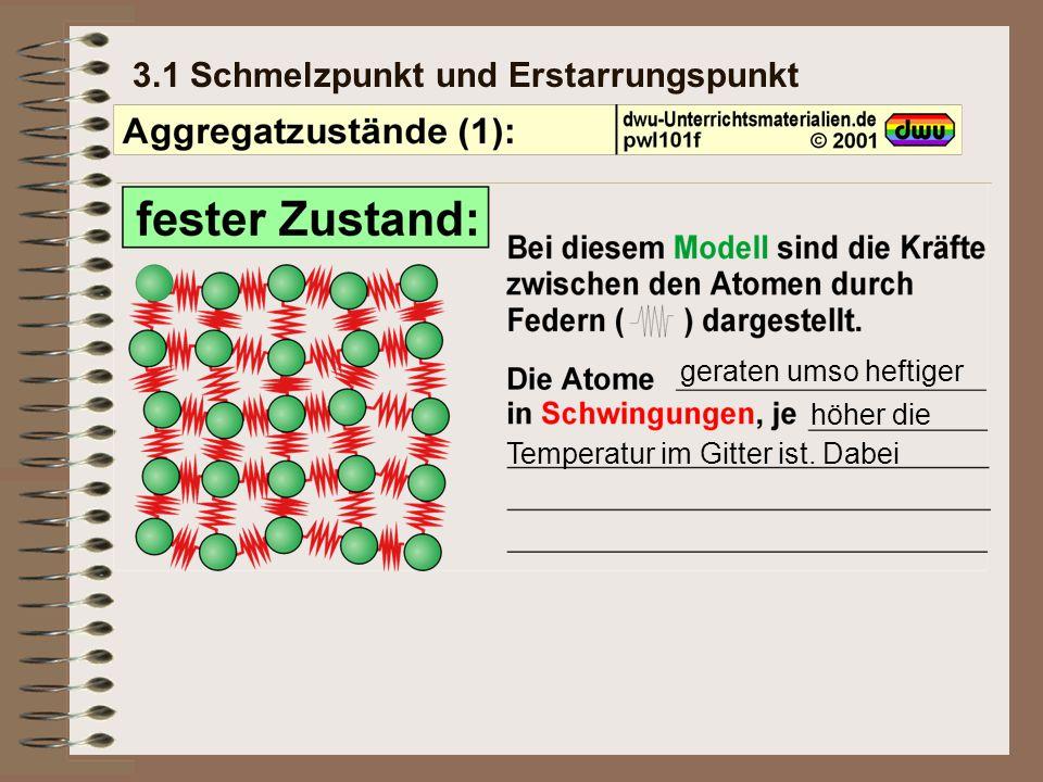3.1 Schmelzpunkt und Erstarrungspunkt geraten umso heftiger höher die Temperatur im Gitter ist.