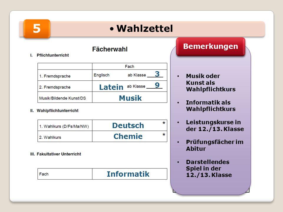 5 3 9 Musik Chemie Informatik Musik oder Kunst als Wahlpflichtkurs Informatik als Wahlpflichtkurs Leistungskurse in der 12./13.