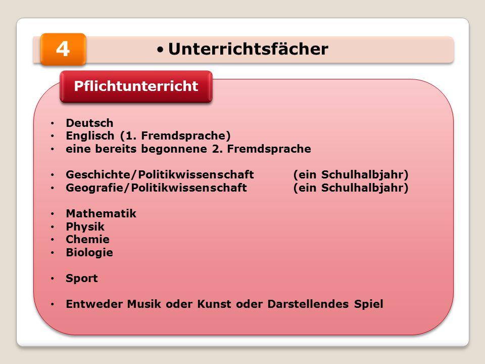 Unterrichtsfächer Deutsch Englisch (1. Fremdsprache) eine bereits begonnene 2.