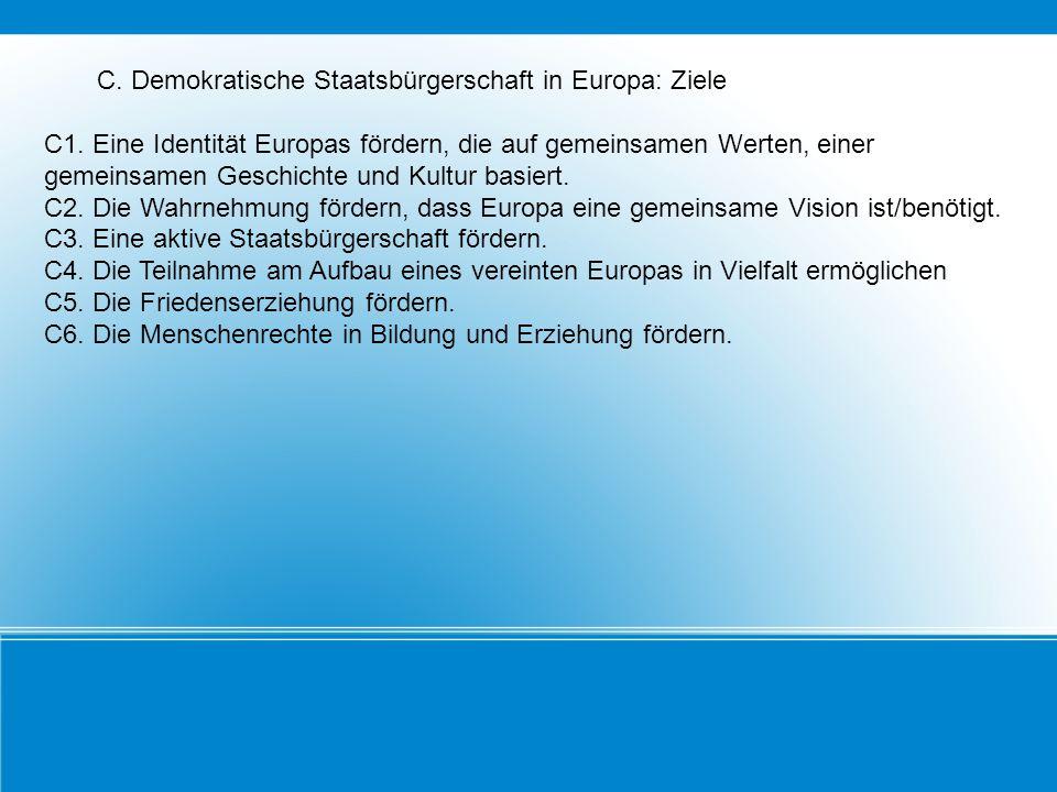 C. Demokratische Staatsbürgerschaft in Europa: Ziele C1. Eine Identität Europas fördern, die auf gemeinsamen Werten, einer gemeinsamen Geschichte und