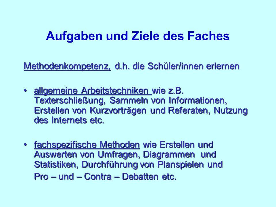 Aufgaben und Ziele des Faches Methodenkompetenz, d.h. die Schüler/innen erlernen allgemeine Arbeitstechniken wie z.B. Texterschließung, Sammeln von In
