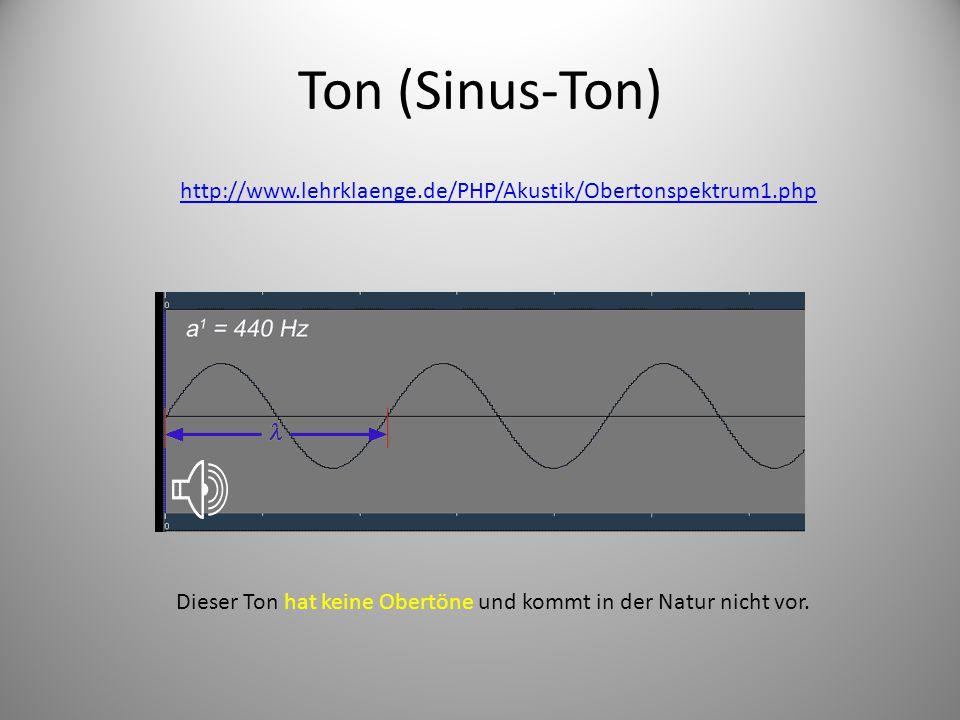 Ton (Sinus-Ton) http://www.lehrklaenge.de/PHP/Akustik/Obertonspektrum1.php Dieser Ton hat keine Obertöne und kommt in der Natur nicht vor.