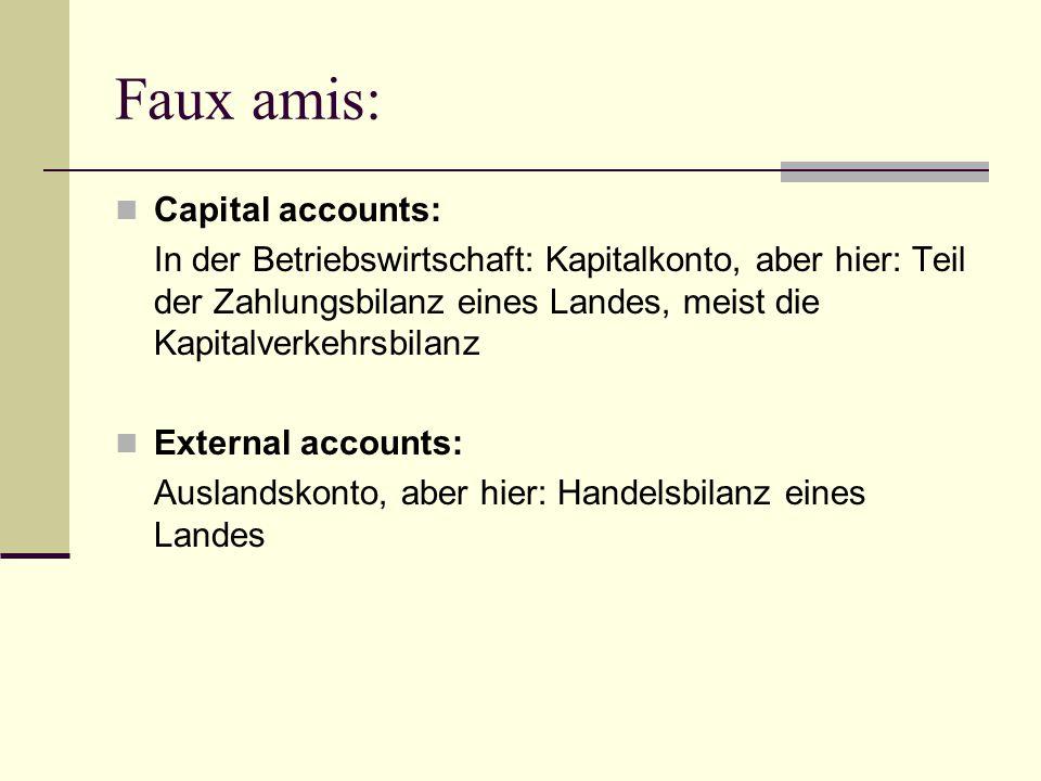 Faux amis: Capital accounts: In der Betriebswirtschaft: Kapitalkonto, aber hier: Teil der Zahlungsbilanz eines Landes, meist die Kapitalverkehrsbilanz External accounts: Auslandskonto, aber hier: Handelsbilanz eines Landes