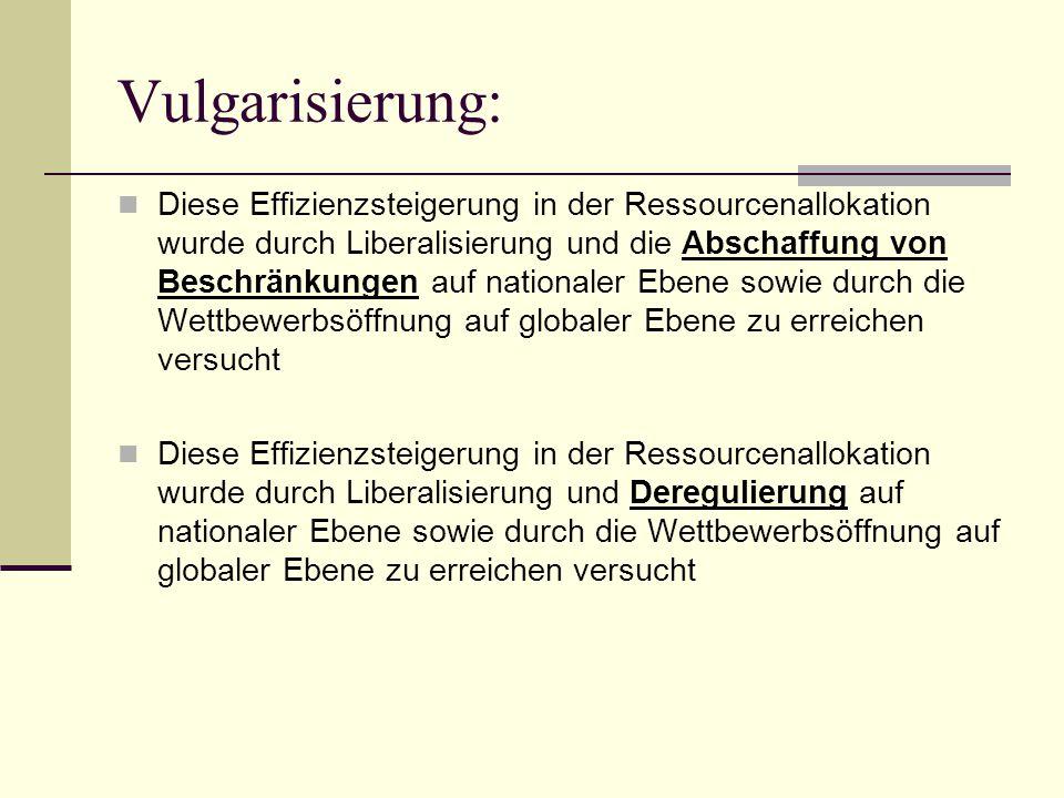 Vulgarisierung: Diese Effizienzsteigerung in der Ressourcenallokation wurde durch Liberalisierung und die Abschaffung von Beschränkungen auf nationale