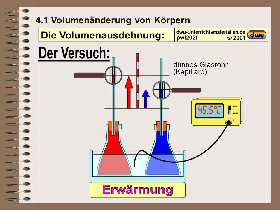 4.1 Volumenänderung von Körpern verschieden aus, (Volumen-Ausdehnung) bei Abkühlung zusammen.