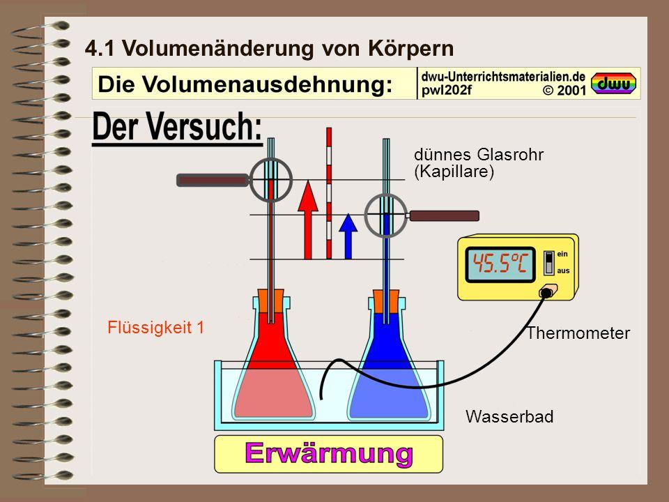 4.1 Volumenänderung von Körpern dünnes Glasrohr (Kapillare) Thermometer Wasserbad Flüssigkeit 1Flüssigkeit 2