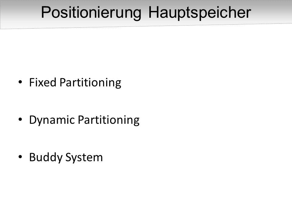 Speicher wird entweder in gleich große oder verschieden große Partitionen auf gespaltet Fixed Partitioning