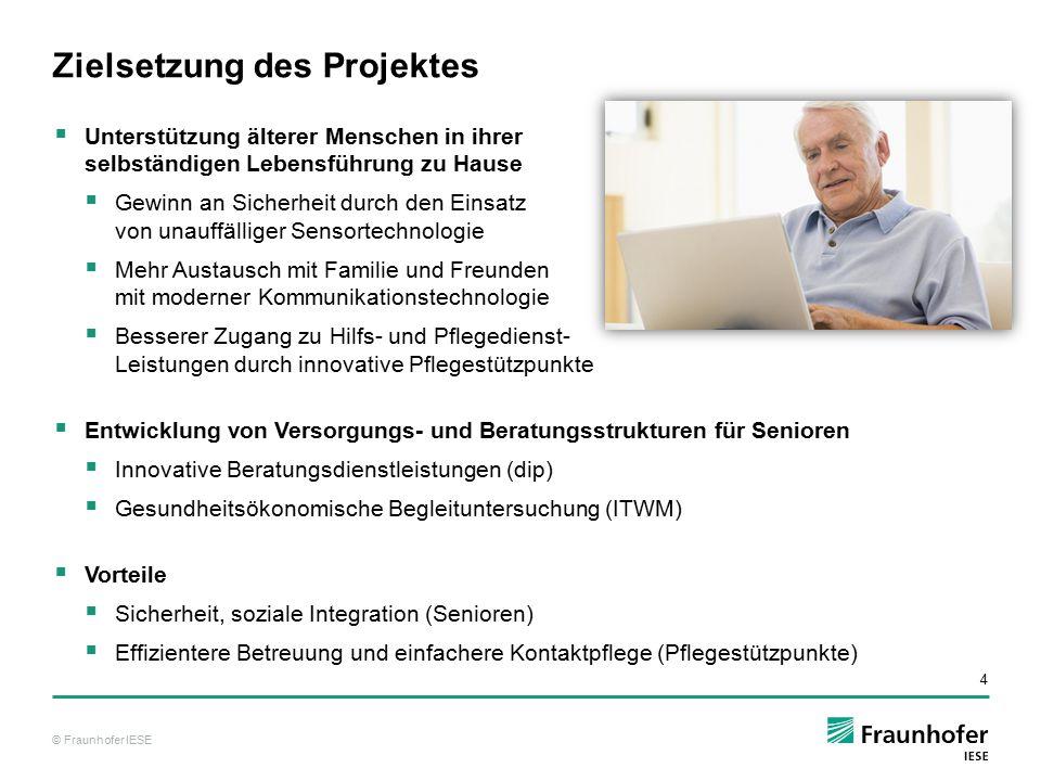 © Fraunhofer IESE 4  Unterstützung älterer Menschen in ihrer selbständigen Lebensführung zu Hause  Gewinn an Sicherheit durch den Einsatz von unauff