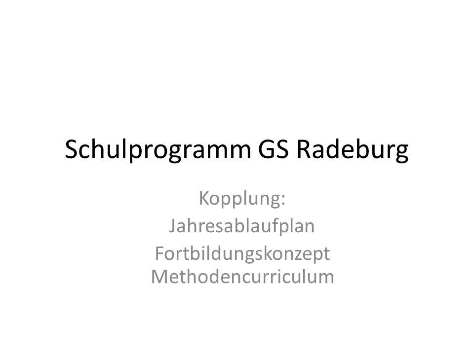 Schulprogramm GS Radeburg Kopplung: Jahresablaufplan Fortbildungskonzept Methodencurriculum