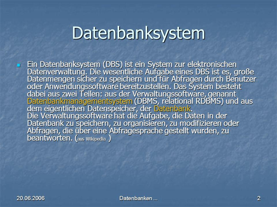 20.06.2006Datenbanken...2 Datenbanksystem Ein Datenbanksystem (DBS) ist ein System zur elektronischen Datenverwaltung.