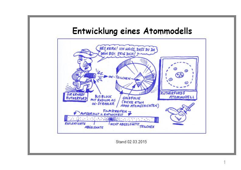 Entwicklung eines Atommodells Stand 02.03.2015 1