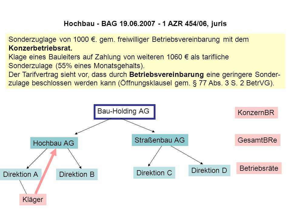 Hochbau - BAG 19.06.2007 - 1 AZR 454/06, juris Sonderzuglage von 1000 €. gem. freiwilliger Betriebsvereinbarung mit dem Konzerbetriebsrat. Klage eines