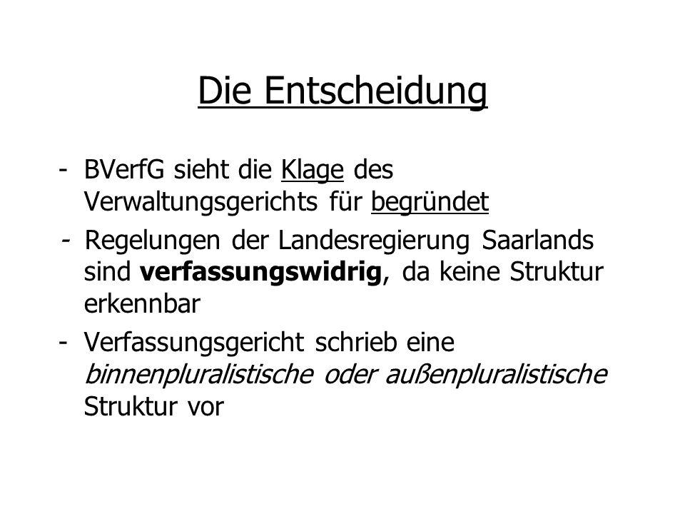 Die Entscheidung -BVerfG sieht die Klage des Verwaltungsgerichts für begründet - Regelungen der Landesregierung Saarlands sind verfassungswidrig, da k