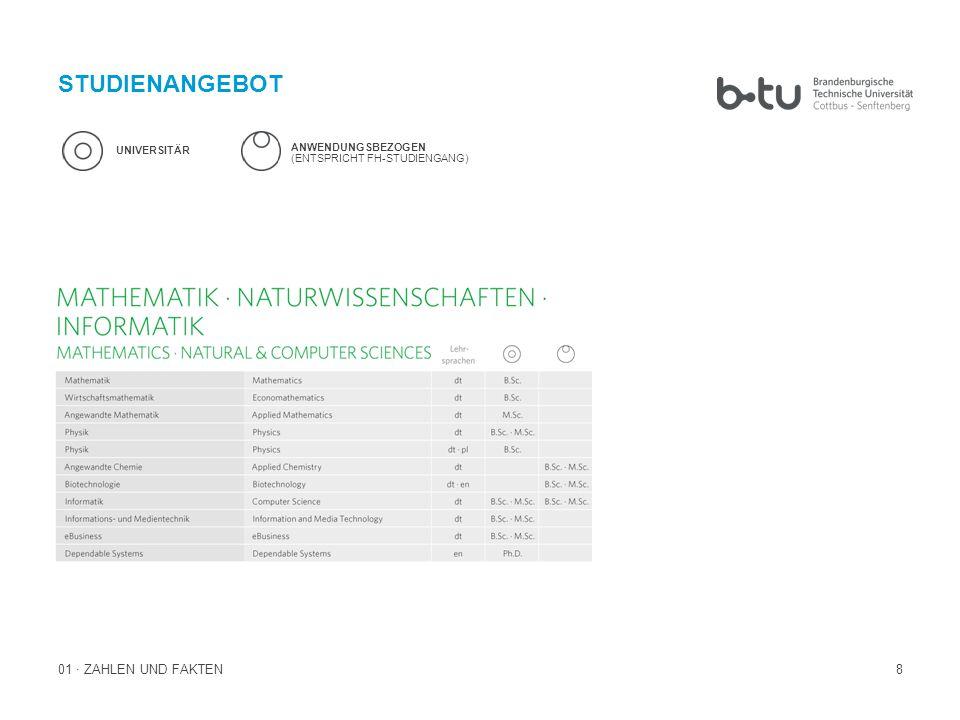 8 STUDIENANGEBOT 01 · ZAHLEN UND FAKTEN UNIVERSITÄR ANWENDUNGSBEZOGEN (ENTSPRICHT FH-STUDIENGANG)