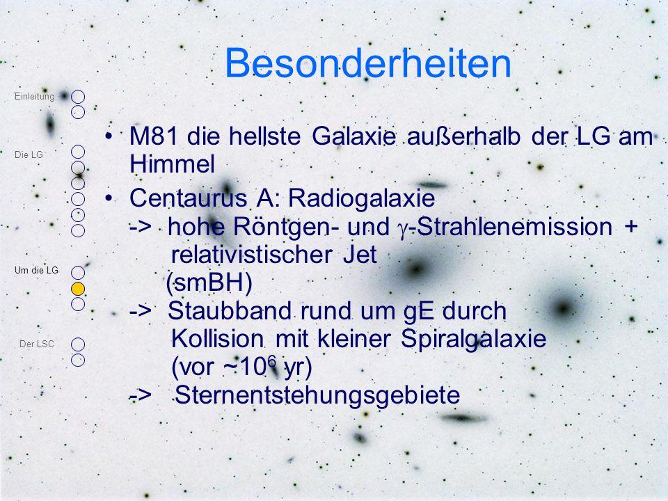Besonderheiten M81 die hellste Galaxie außerhalb der LG am Himmel Centaurus A: Radiogalaxie -> hohe Röntgen- und  -Strahlenemission + relativistische