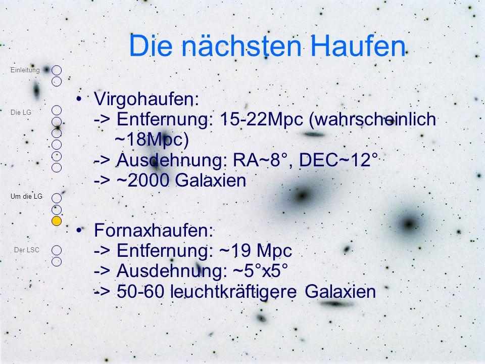 Die nächsten Haufen Virgohaufen: -> Entfernung: 15-22Mpc (wahrscheinlich ~18Mpc) -> Ausdehnung: RA~8°, DEC~12° -> ~2000 Galaxien Fornaxhaufen: -> Entf