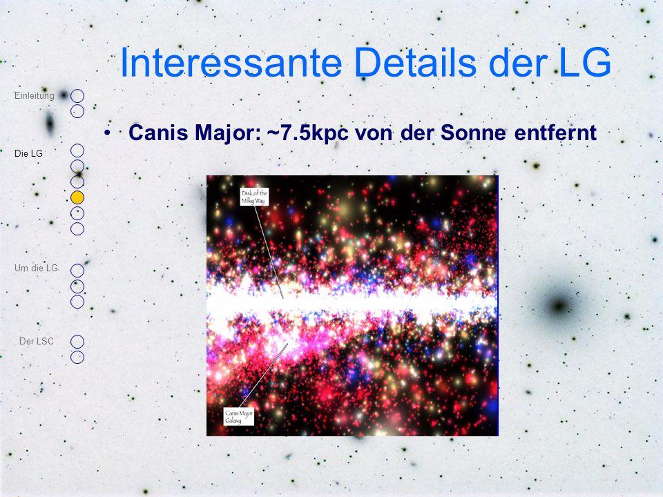 Interessante Details der LG Canis Major: ~7.5kpc von der Sonne entfernt Einleitung Die LG Um die LG Der LSC