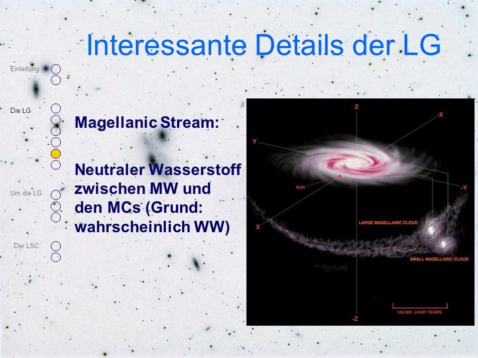 Interessante Details der LG Magellanic Stream: Neutraler Wasserstoff zwischen MW und den MCs (Grund: wahrscheinlich WW) Einleitung Die LG Um die LG De