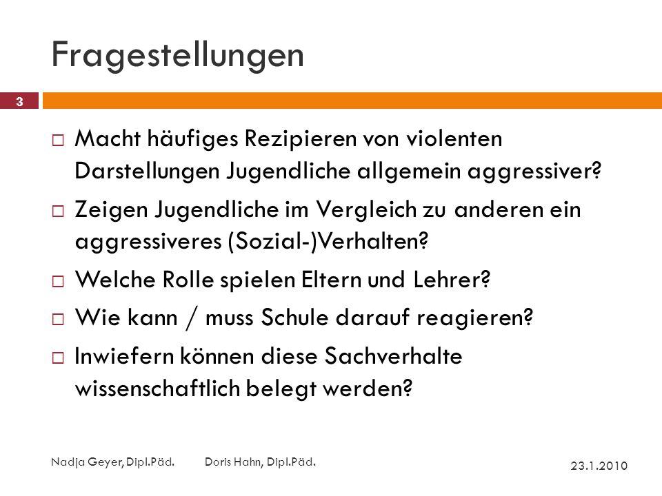 Fragestellungen 23.1.2010 Nadja Geyer, Dipl.Päd.Doris Hahn, Dipl.Päd.