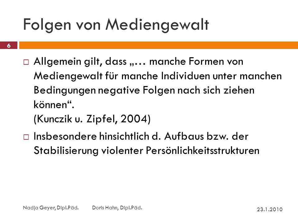 Folgen von Mediengewalt 23.1.2010 Nadja Geyer, Dipl.Päd.