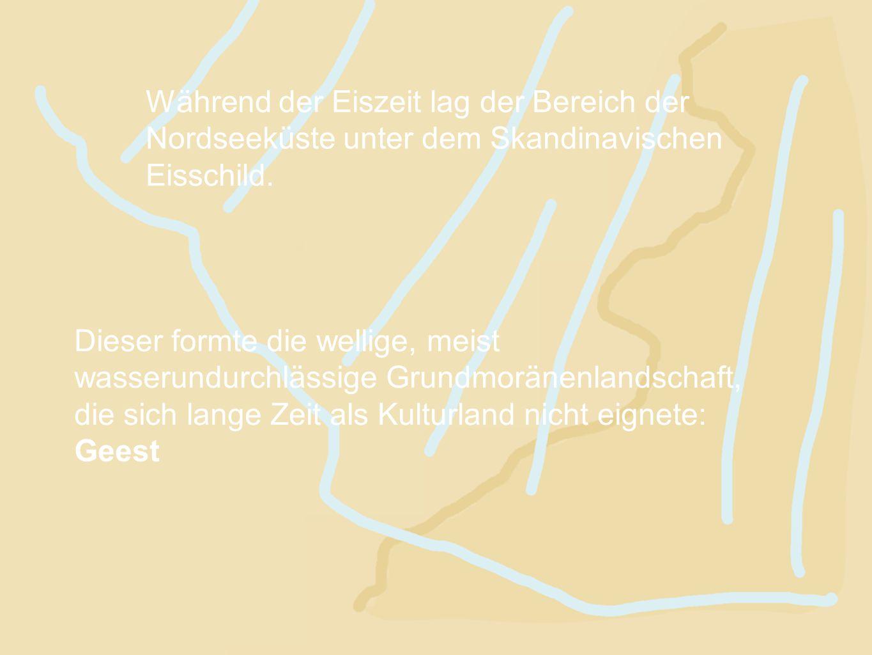 Während der Eiszeit lag der Bereich der Nordseeküste unter dem Skandinavischen Eisschild. Dieser formte die wellige, meist wasserundurchlässige Grundm