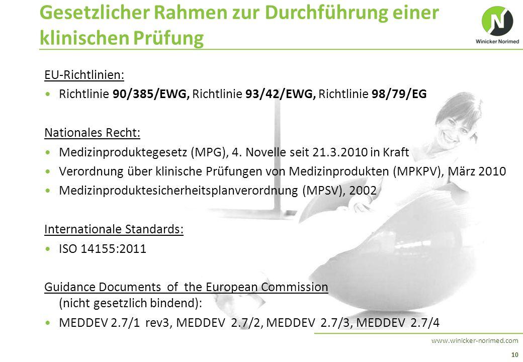 10 www.winicker-norimed.com Gesetzlicher Rahmen zur Durchführung einer klinischen Prüfung EU-Richtlinien: Richtlinie 90/385/EWG, Richtlinie 93/42/EWG,