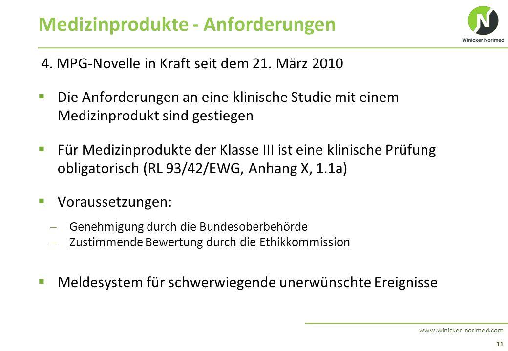 11 www.winicker-norimed.com Medizinprodukte - Anforderungen 4. MPG-Novelle in Kraft seit dem 21. März 2010  Die Anforderungen an eine klinische Studi