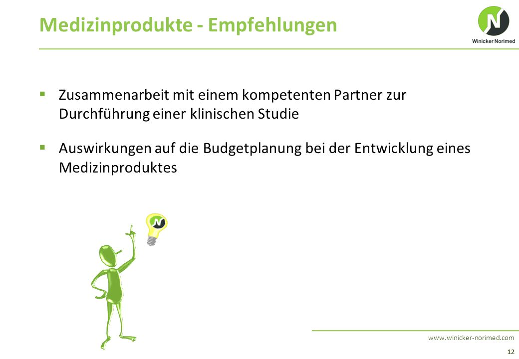 12 www.winicker-norimed.com Medizinprodukte - Empfehlungen  Zusammenarbeit mit einem kompetenten Partner zur Durchführung einer klinischen Studie  A