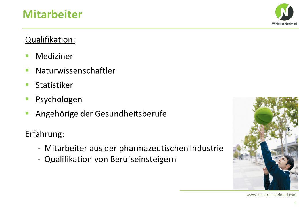 5 www.winicker-norimed.com Mitarbeiter Qualifikation:  Mediziner  Naturwissenschaftler  Statistiker  Psychologen  Angehörige der Gesundheitsberuf