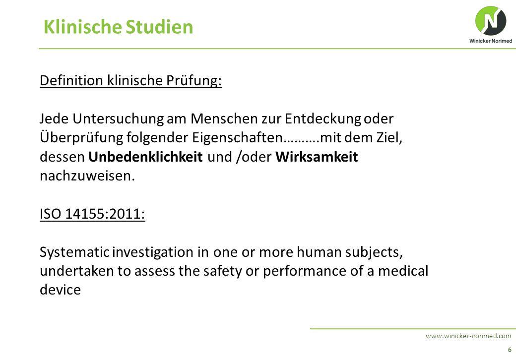 6 www.winicker-norimed.com Klinische Studien Definition klinische Prüfung: Jede Untersuchung am Menschen zur Entdeckung oder Überprüfung folgender Eig
