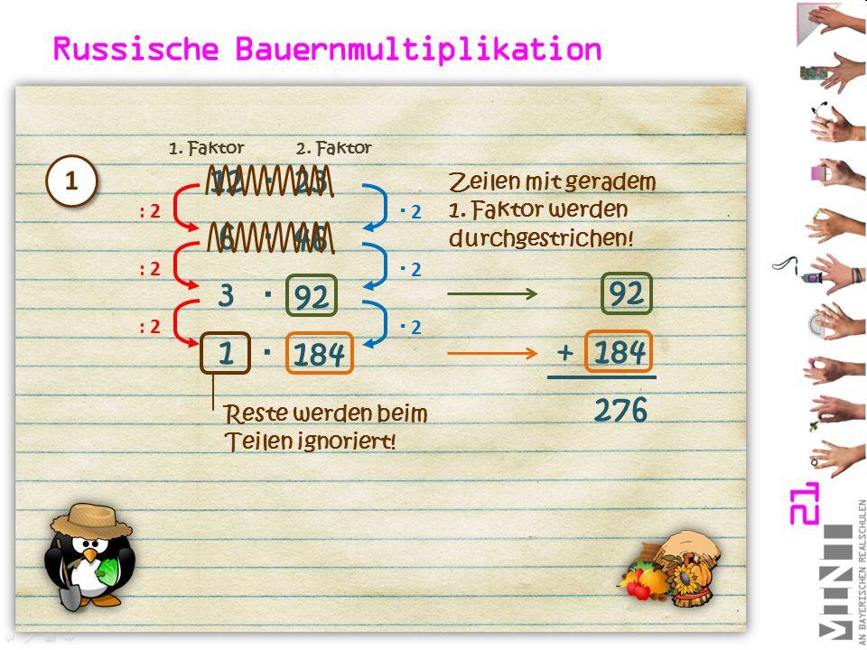 12  23 : 2  2 2 6 46  : 2  2 2 3 92  : 2  2 2 1 184  Zeilen mit geradem 1. Faktor werden durchgestrichen! 92 184+ 276 1 1 Reste werden beim