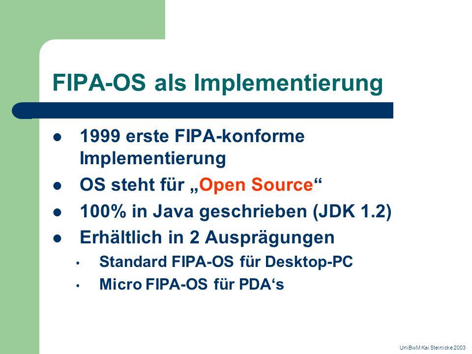 """FIPA-OS als Implementierung 1999 erste FIPA-konforme Implementierung OS steht für """"Open Source 100% in Java geschrieben (JDK 1.2) Erhältlich in 2 Ausprägungen Standard FIPA-OS für Desktop-PC Micro FIPA-OS für PDA's UniBwM Kai Steinicke 2003"""