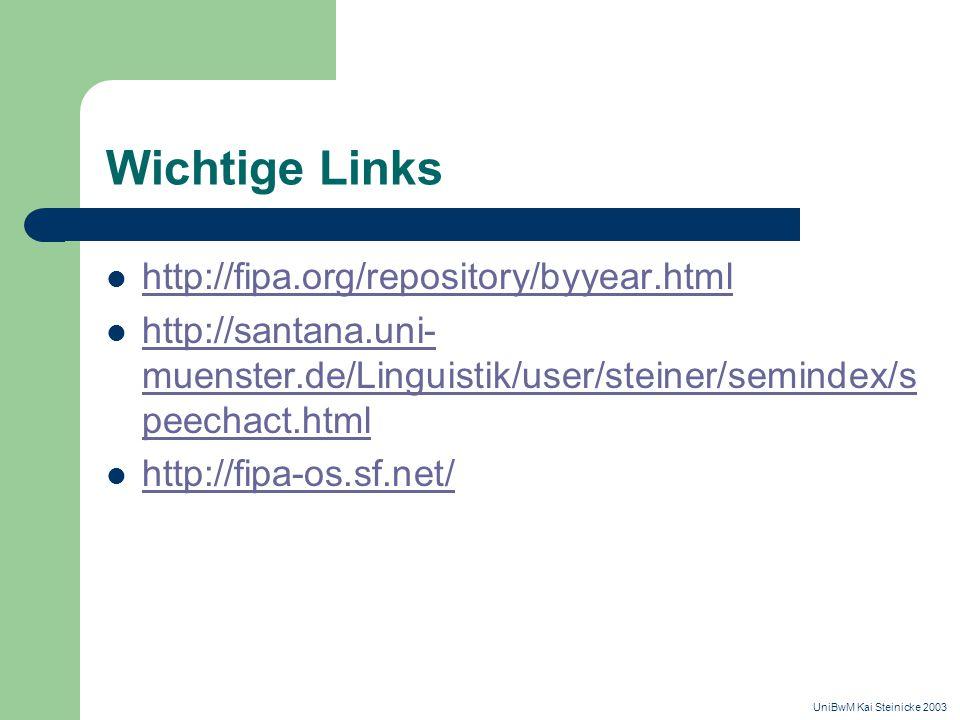 Wichtige Links http://fipa.org/repository/byyear.html http://santana.uni- muenster.de/Linguistik/user/steiner/semindex/s peechact.html http://santana.uni- muenster.de/Linguistik/user/steiner/semindex/s peechact.html http://fipa-os.sf.net/ UniBwM Kai Steinicke 2003