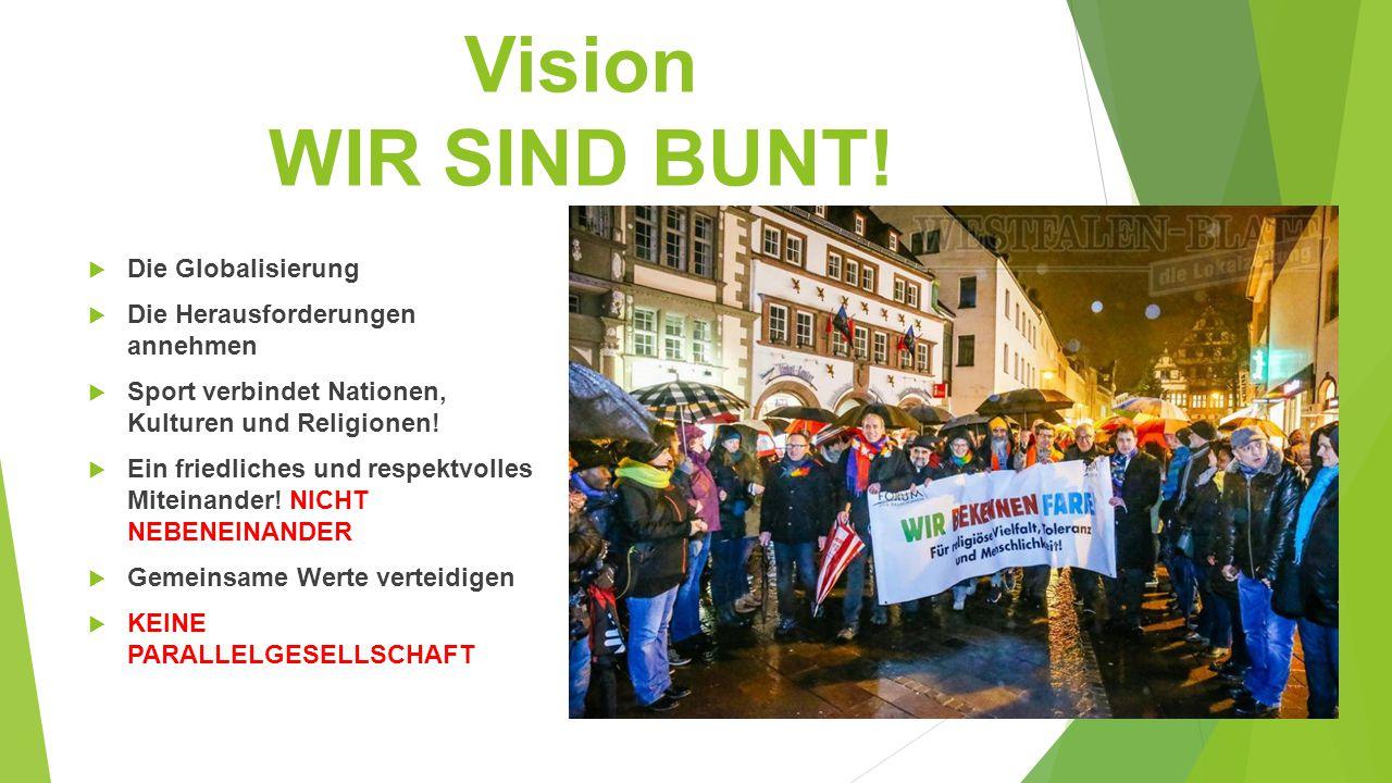 Vision WIR SIND BUNT!  Die Globalisierung  Die Herausforderungen annehmen  Sport verbindet Nationen, Kulturen und Religionen!  Ein friedliches und
