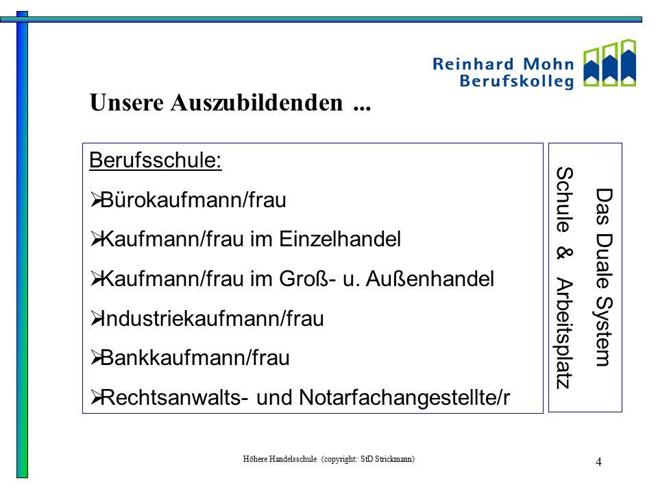 Höhere Handelsschule (copyright: StD Strickmann) 4 Berufsschule:  Bürokaufmann/frau  Kaufmann/frau im Einzelhandel  Kaufmann/frau im Groß- u. Außen