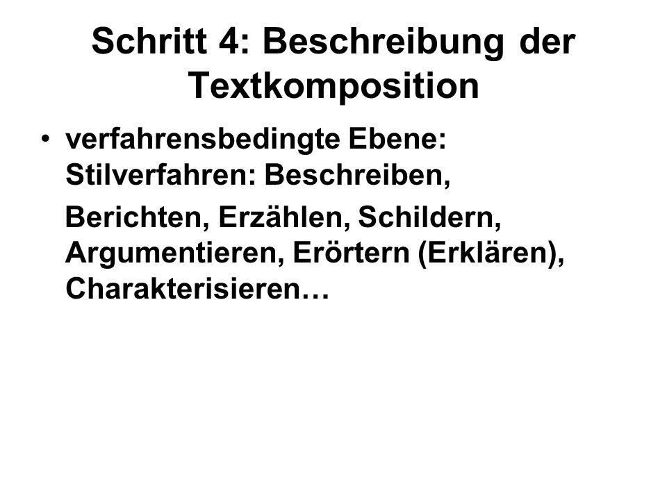 Schritt 4: Beschreibung der Textkomposition verfahrensbedingte Ebene: Stilverfahren: Beschreiben, Berichten, Erzählen, Schildern, Argumentieren, Erört