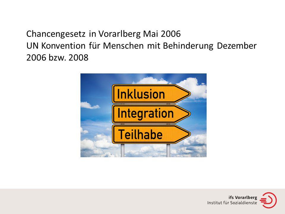 Chancengesetz in Vorarlberg Mai 2006 UN Konvention für Menschen mit Behinderung Dezember 2006 bzw.