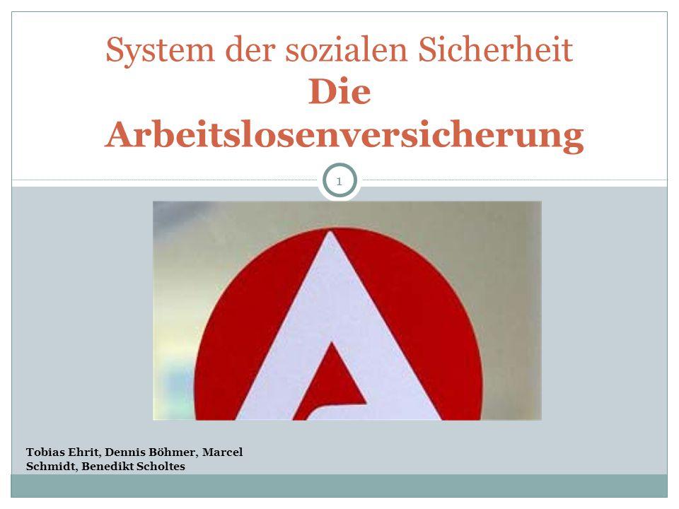 System der sozialen Sicherheit Die Arbeitslosenversicherung 1 Tobias Ehrit, Dennis Böhmer, Marcel Schmidt, Benedikt Scholtes