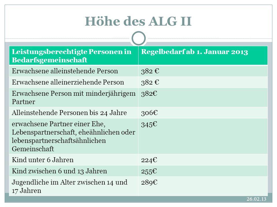 Höhe des ALG II Leistungsberechtigte Personen in Bedarfsgemeinschaft Regelbedarf ab 1.