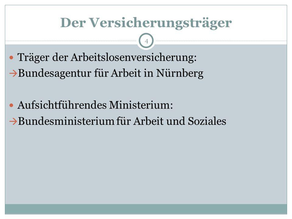 Der Versicherungsträger 4 Träger der Arbeitslosenversicherung:  Bundesagentur für Arbeit in Nürnberg Aufsichtführendes Ministerium:  Bundesministerium für Arbeit und Soziales