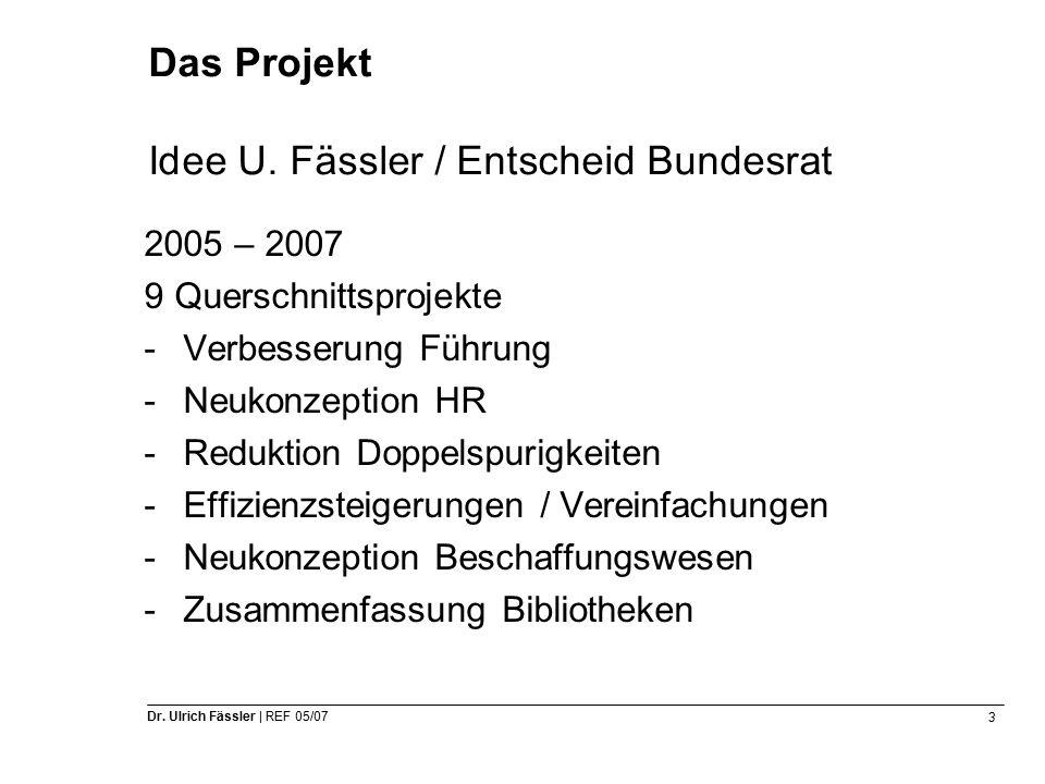 3 Dr. Ulrich Fässler | REF 05/07 Das Projekt Idee U.