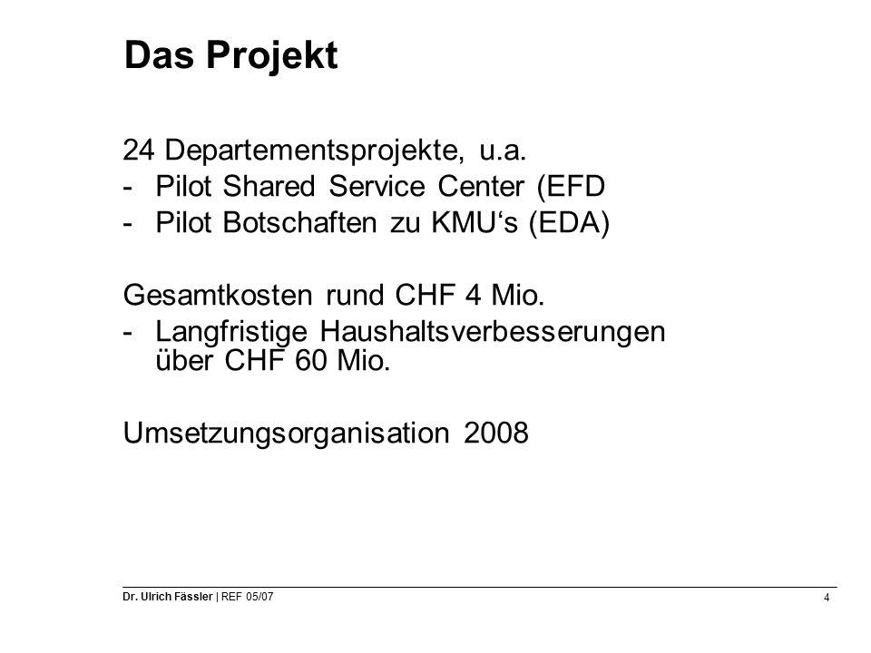 4 Dr. Ulrich Fässler | REF 05/07 Das Projekt 24 Departementsprojekte, u.a.