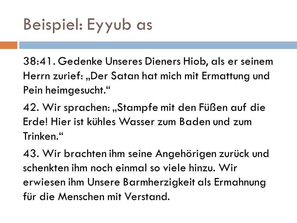 """Beispiel: Eyyub as 38:41. Gedenke Unseres Dieners Hiob, als er seinem Herrn zurief: """"Der Satan hat mich mit Ermattung und Pein heimgesucht."""" 42. Wir s"""