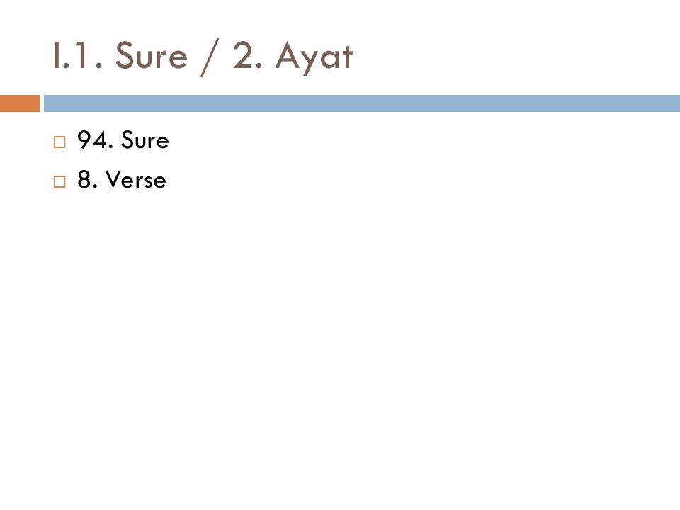 I.1. Sure / 2. Ayat  94. Sure  8. Verse