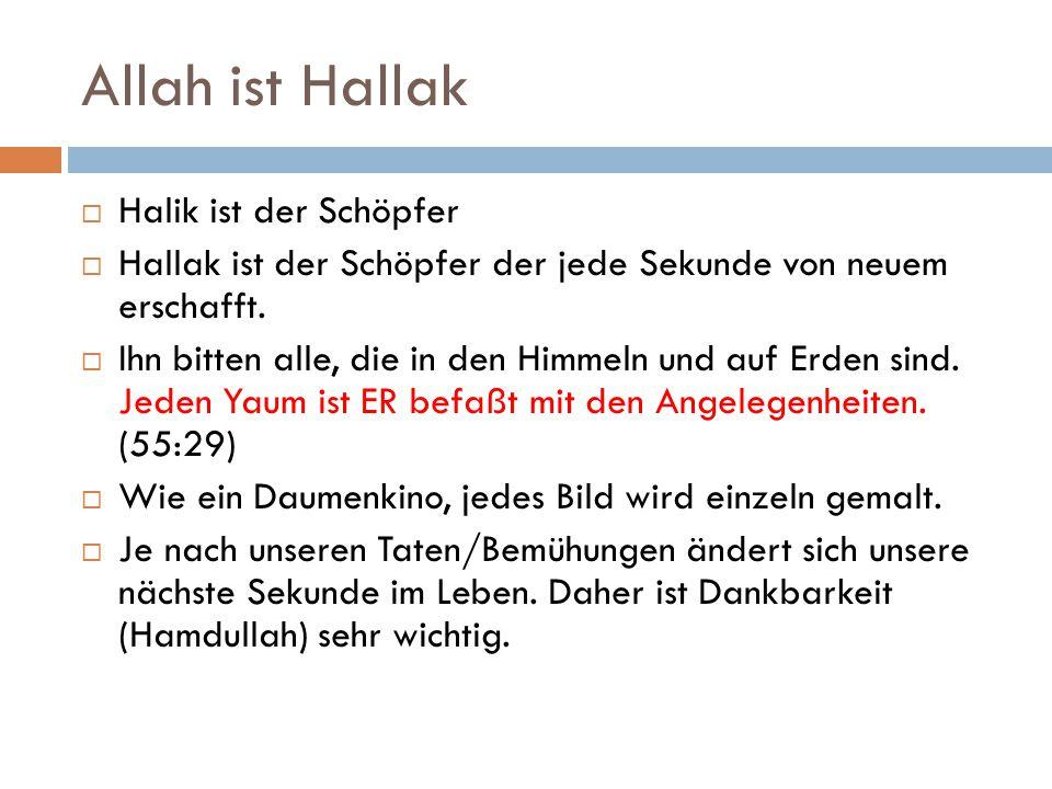 Allah ist Hallak  Halik ist der Schöpfer  Hallak ist der Schöpfer der jede Sekunde von neuem erschafft.  Ihn bitten alle, die in den Himmeln und au