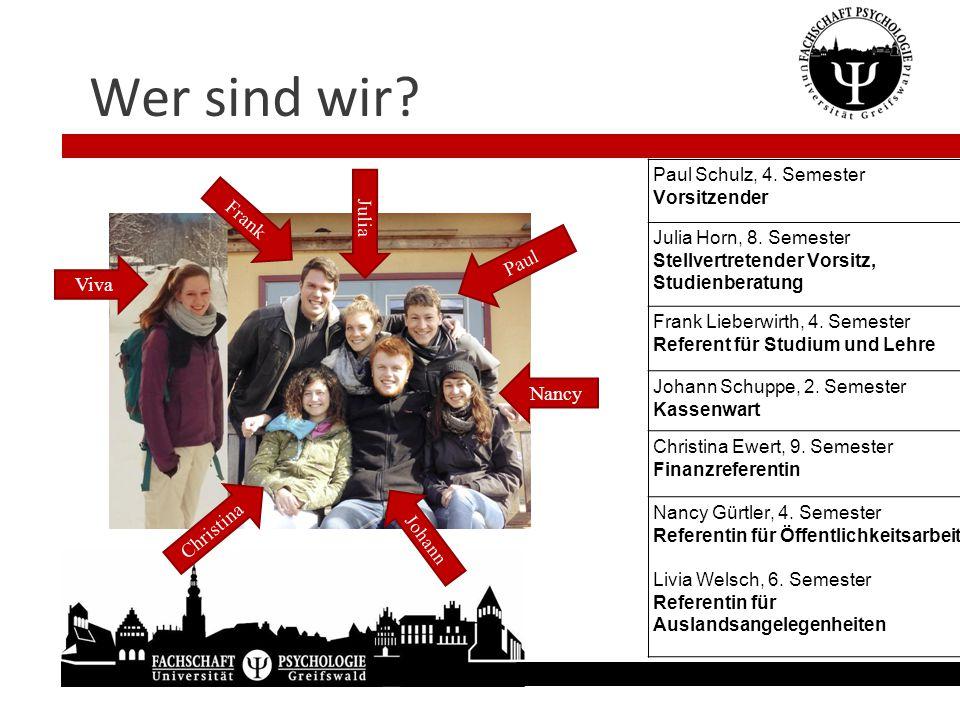 Wer sind wir? Julia Paul Schulz, 4. Semester Vorsitzender Julia Horn, 8. Semester Stellvertretender Vorsitz, Studienberatung Frank Lieberwirth, 4. Sem