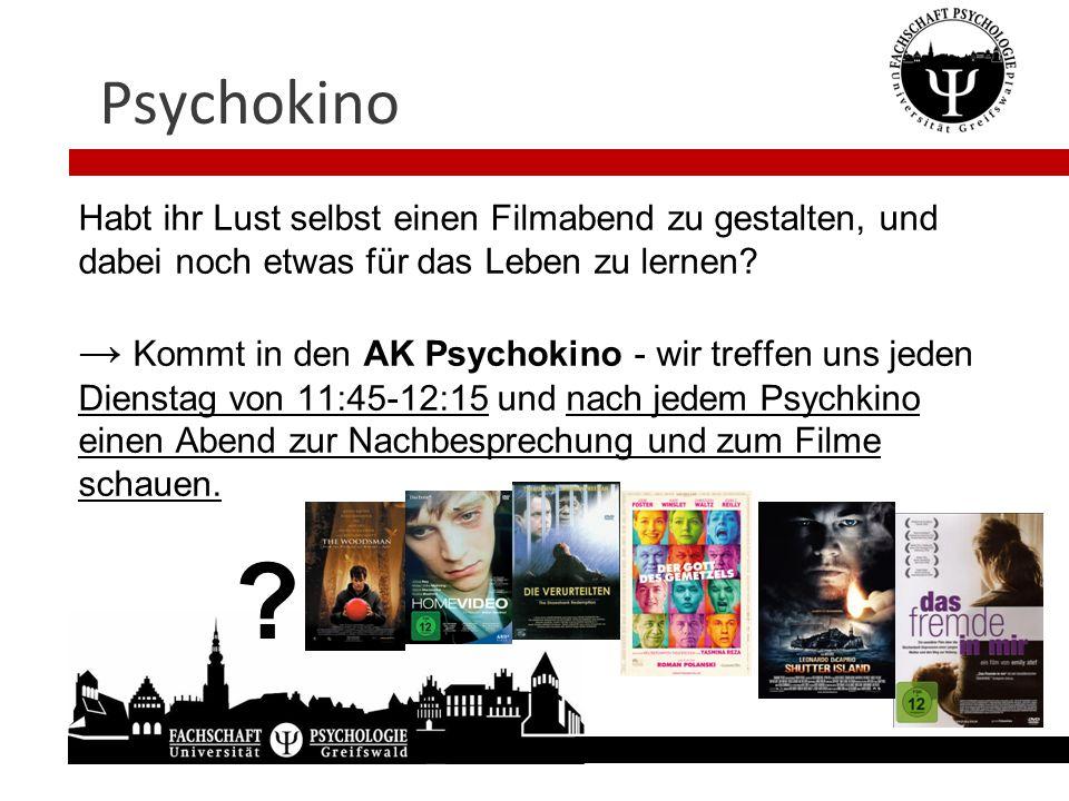 Psychokino Habt ihr Lust selbst einen Filmabend zu gestalten, und dabei noch etwas für das Leben zu lernen? → Kommt in den AK Psychokino - wir treffen